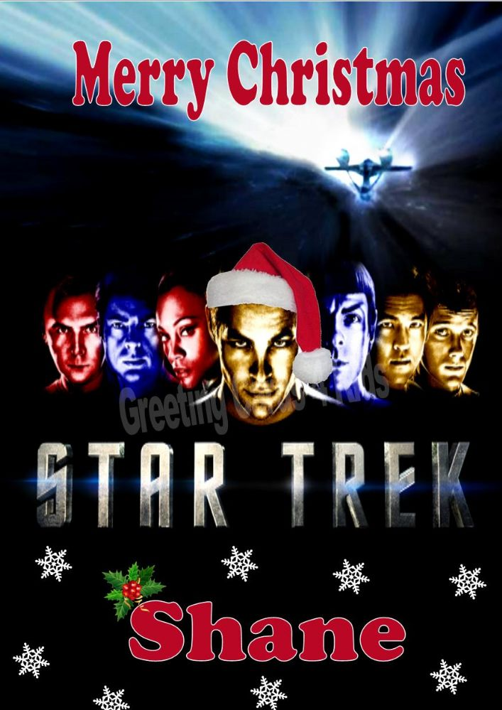 personalised star trek christmas card
